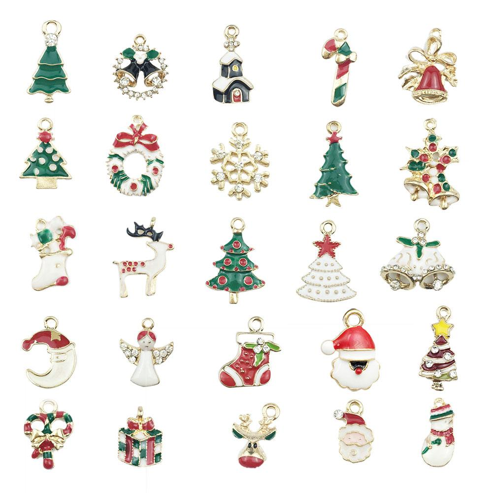19/25Pcs Christmas Alloy Key Chain Pendant Hanging Ornaments DIY Earring Jewelry Accessories Material Kits Christmas Decorations
