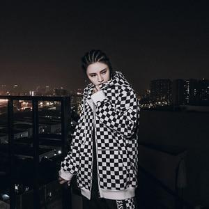 Image 2 - Bebovizi Mens Harajuku היפ הופ לרכוס קפוצ ון סווטשירט שחור לבן שחמט משובץ הסווטשרט Streetwear צמר ברדס הברנש