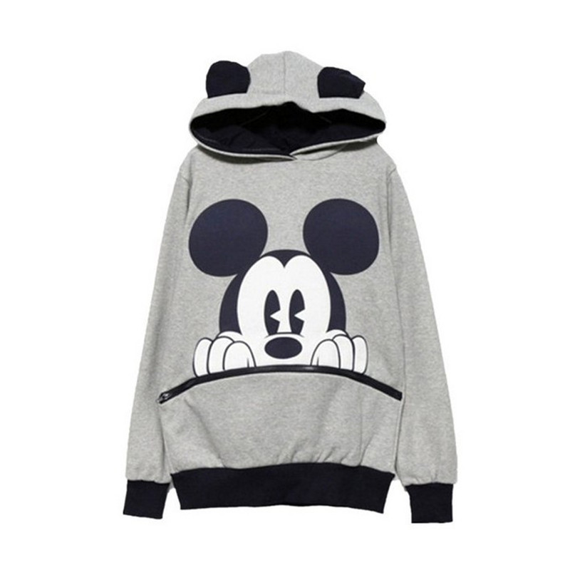 Casual Women's Hoodies Mickey-Cartoon Print Full O-Neck Loose Pullovers Hoodies Winter Plus Velvet Harajuku Ladies Sweatshirt