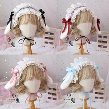 Lolita Handmade Bowknot Lop Ears Rabbit Headband Hair accessories Soft Sister Cute KC Hair Clip Rabbit ears Removable Headdress