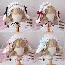 Lolita Handmade Bowknot Lop Orecchie di Coniglio accessori per Capelli Fascia Sorella Morbido Carino KC Clip di Capelli orecchie di Coniglio Rimovibile Copricapo