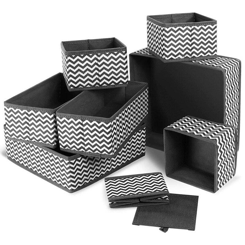 30 Cajas de almacenamiento de rejilla ropa int sujetador organizadores de cajones Divisores de tocador Organizador de almacenamiento de armario Cajas de almacenamiento plegables for ordenar cajones