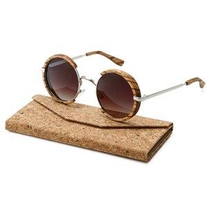 Image 5 - All Seasons Men Handmade Wooden Polarized Sunglasses Gradient Gray Lenses UV400 Retro Style Round Women Sun Glasses With Case