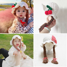 Handmade Knitted Baby Girl Wig Hat Infant Wigs Brades Kid Crochet Hat Caps With Plaits Bebe Photography Props Headwear 1-6 Yrs