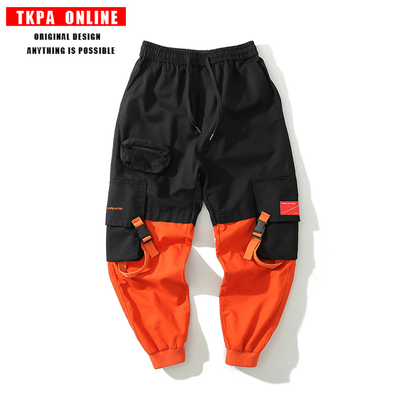 TKPA 2019 Spring And Summer New Style Europe And America Popular Brand Loose-Fit Contrast Color Pocket Ribbon Men's Beam Leg Bib