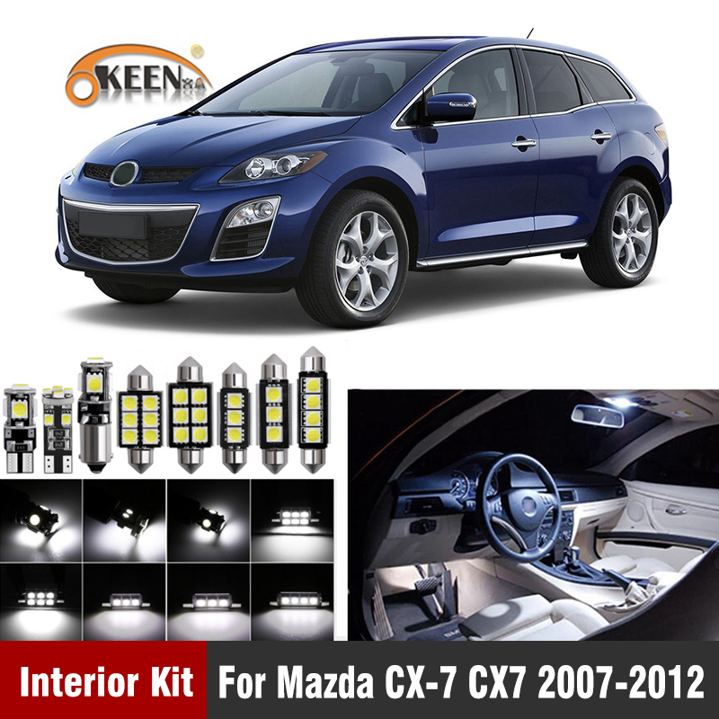 12Pcs Canbus <font><b>Led</b></font> Bulb Car Interior Light Kit For <font><b>Mazda</b></font> CX-7 <font><b>CX7</b></font> 2007 2008 2009 2010 2011 2012 <font><b>led</b></font> interior Dome Map Trunk Lights image