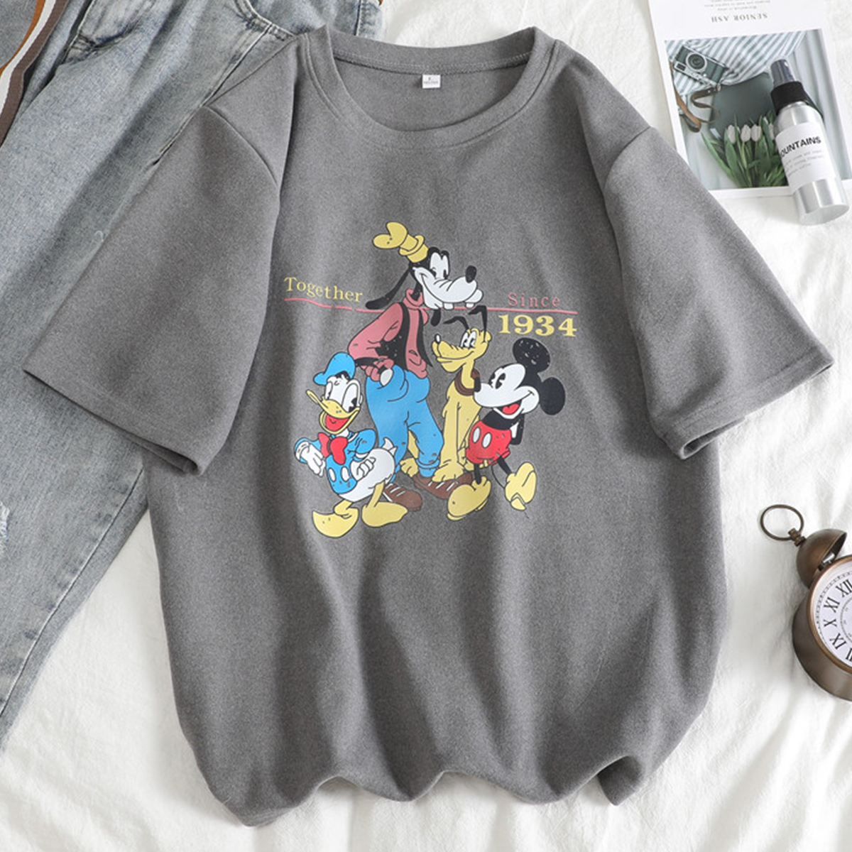2020 Summer Loose Cartoon Printed Tees Female O Neck Half Sleeve Casual Harajuku Shirt Streetwear Cotton Tops Women T Shirts
