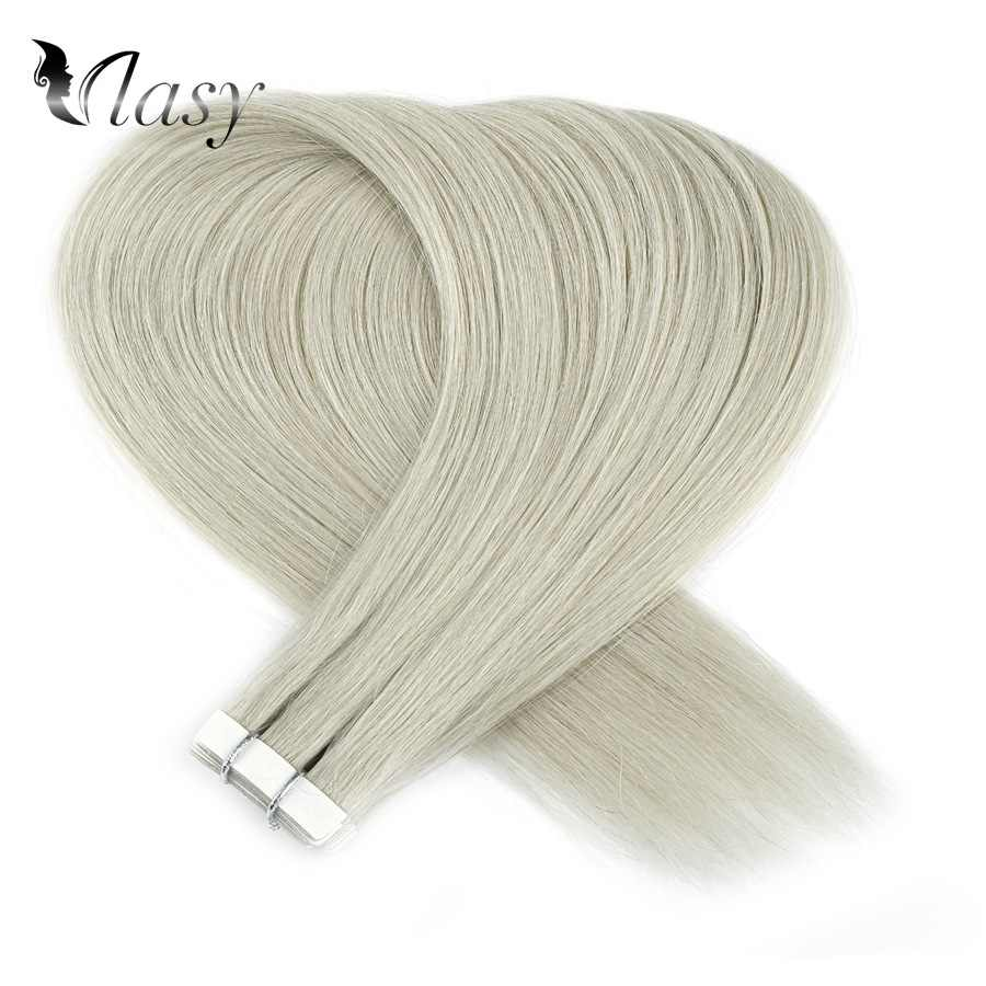 Vlasy 16'' 20'' 24'' Straight Remy Hair Extensions Grey Color Double Drawn Skin Weft Tape In Human Hair Extensions