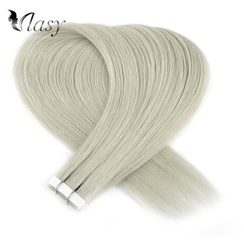 Vlasy 16'' 20'' 24'' Straight Remy Hair Extensions Grey Color Double Drawn Skin Weft Tape In Human Hair Extensions k s wigs 80pcs pack remy human hair double drawn straight luxury skin weft tape on hair extensions