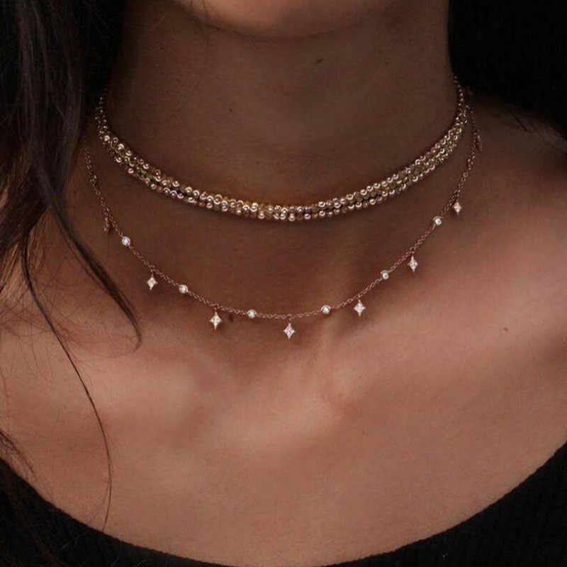 Exquisite Crystal Stars Bohe Multi-Layer Choker Necklace For Women Charm Bohemia Statement Necklaces Pendants in Jewelry Bijoux