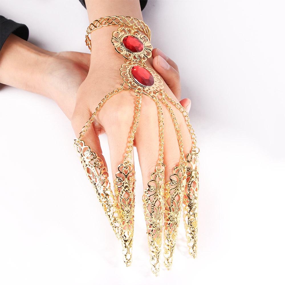 Модный индийский тайский золотой браслет на палец сияющий красный Кристальный женский браслет для танца живота ювелирные изделия