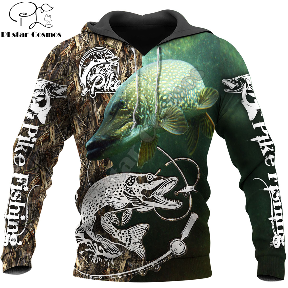 2020 Fashion Men Hoodie animal Pike Fishing 3D Printed Harajuku Sweatshirt Unisex Casual Pullover hoodies sudadera hombre KJ082