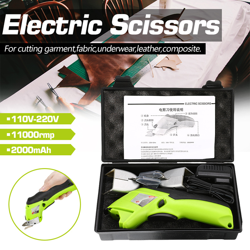 Multipurpose 110V-220V Electric Scissors Fabric Leather Cloth Cutting Cordless Chargeable Fabric Sewing Handheld Scissors