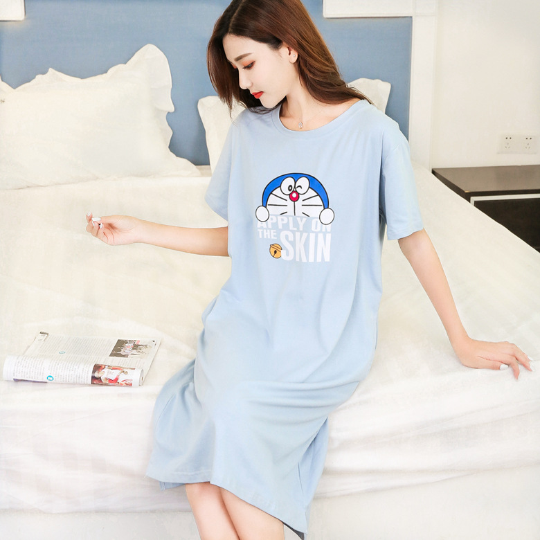 Short Sleeve Nightgown Women's Summer Nightgown Blue Letters Jingle Cats 2019 New Style Large Size Pajamas