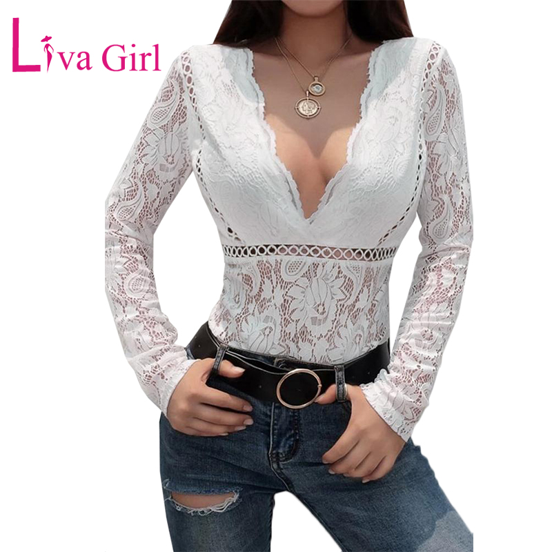 LIVA GIRL White Floral Lace Women Bodysuit Long Sleeve Bodysuits Sexy Deep V-neck Hollow Out Bodycon Jumpsuits Female Body Tops