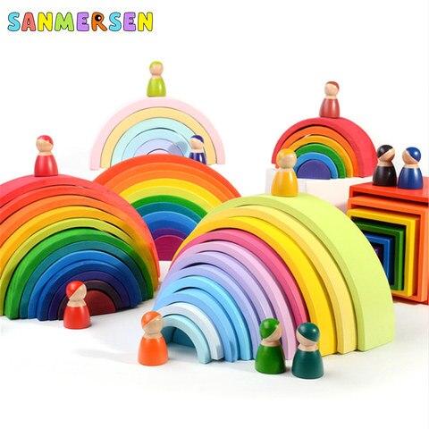 tamanho grande criativo madeira arco iris blocos