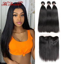 Lace-Frontal Bundles Human-Hair Ali-Annabelle Straight Malaysian with 13x4