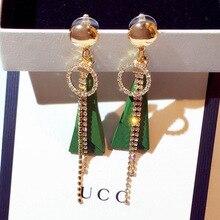 New fashion Korean earrings green wood long geometric triangle tassel  vintage crystal rhinestone luxury