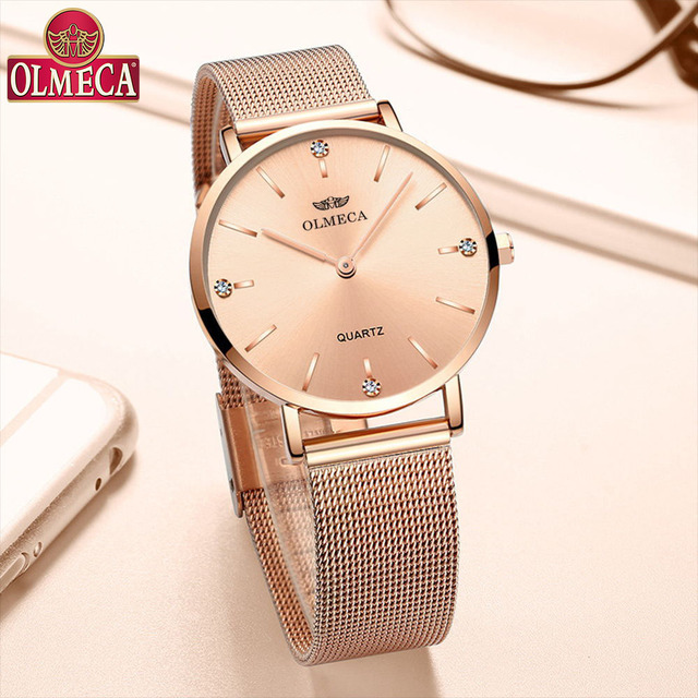 OLMECA Reloj de lujo para mujer, reloj de pulsera femenino, resistente al agua, envío directo