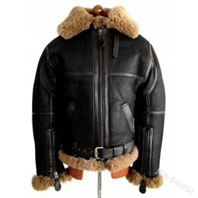 WEPBEL Winter Men's PU Leather Jacket Mens Fleece Fur Collar Motorcycle Jackets Casual Outdoor Thermal Leather Coats 4