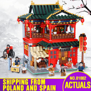 DHL XB01002 Chinese Street Buidling MOC Toys The Beautiful Tavern Set Assembly Building Blocks Bricks Kids Christmas Toys Gift