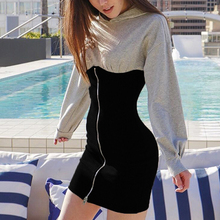 Womens Patchwork Dress new stitching hooded Slim bag hip dress zipper long-sleeved sweater short skirt 2019 Hot sale