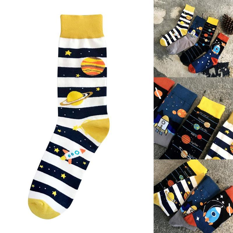 Large Size Men's Socks Creative Space Planet Skateboard Pattern Autumn Fashion Novelty Design Cotton Unisex Mid Sock