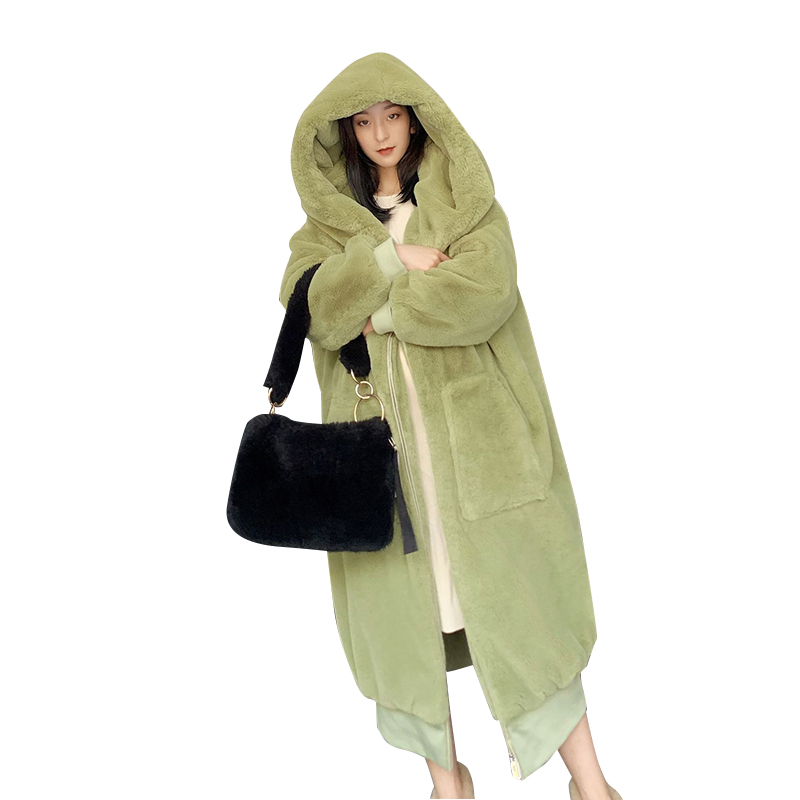 21 Winter Oversized Faux Fur Coat Women Hooded Loose Thicken Long Parka Women Warm Green Pink Thick Plush Outwear Female CX1738