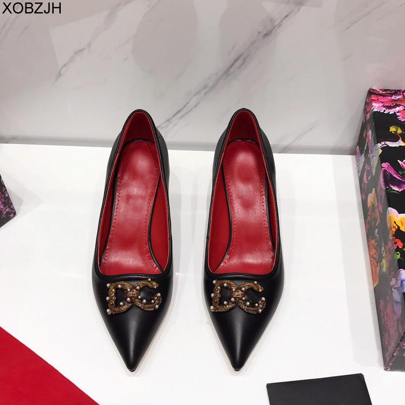 Office Shoes Pumps Designer High Heels Women Luxury 2019 Brand Pumps Black White Red Green Ladies Leather Shoes Woman Big Size