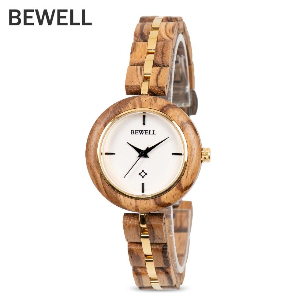 BEWELL ZS - W164A Women Watch Quartz Movement Stainless Steel Wood Strap Luxury Brand Wrist Watches Waterproof Analog Watches