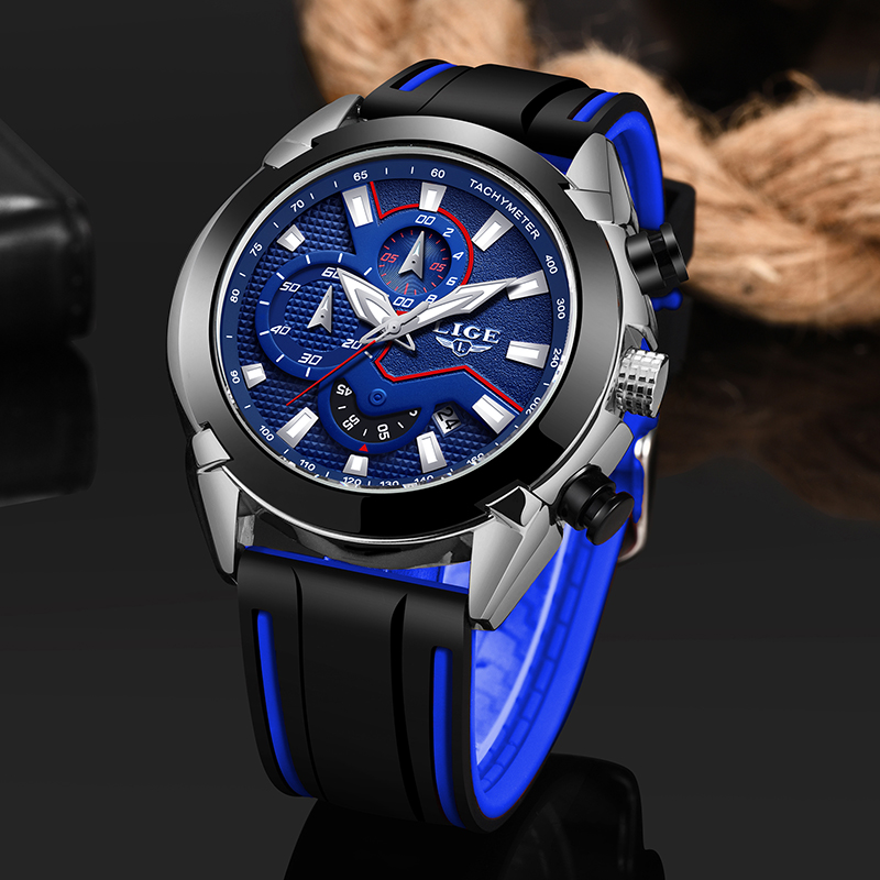 LIGE New Fashion Mens Watches Silicone Strap Top B