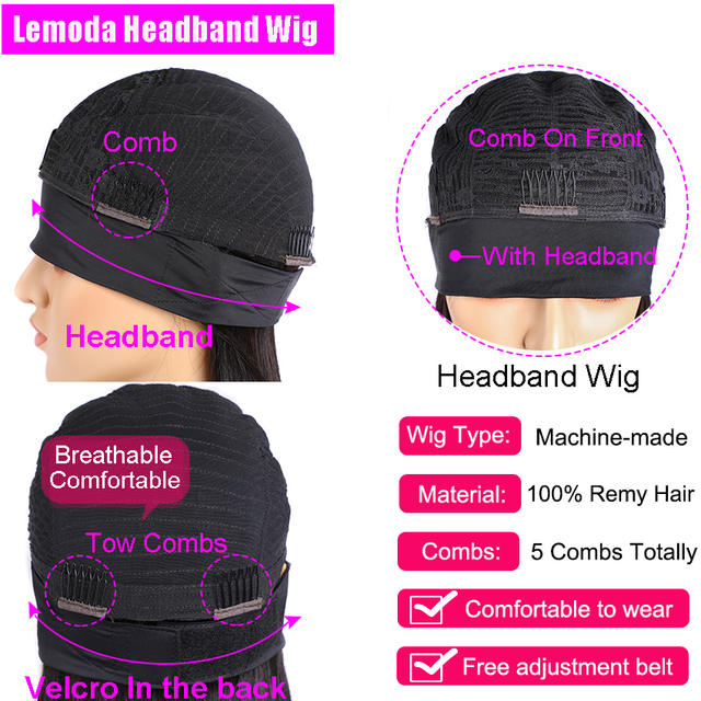Straight Headband Wig Human Hair Brazilian Natural Hair Scarf Wigs 150% Density Lemoda Glueless Full Machine Hair Wigs For Women|Human Hair Lace Wigs|   -