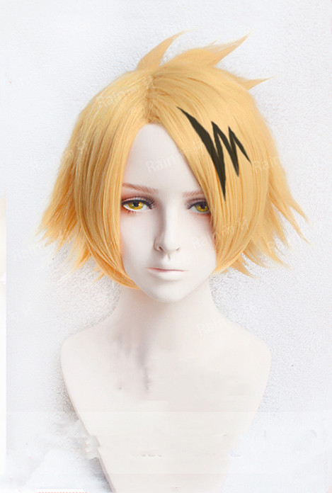 Anime My Hero Hero Academia Denki Kaminari Wigs Short Golden Heat Resistant Synthetic Cosplay Wigs+ Wig Cap+ Black Lightening
