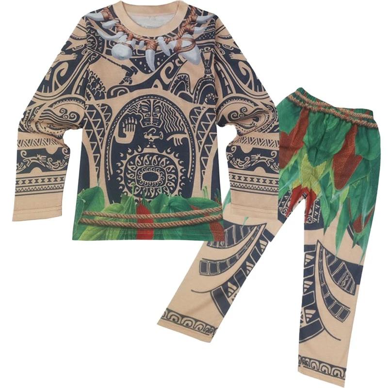 Moana Maui Toddler Kids Boys Long Sleeve Tops Pants Sleepwear Pjs Pyjamas Sets