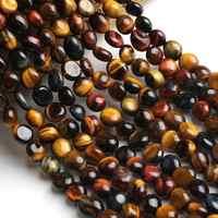 6-8mm Natürliche Unregelmäßigen Mehrfarbige Tiger Eye Stein Perlen Lose Rondelle Perlen Für Schmuck Machen DIY Perles Armband zubehör