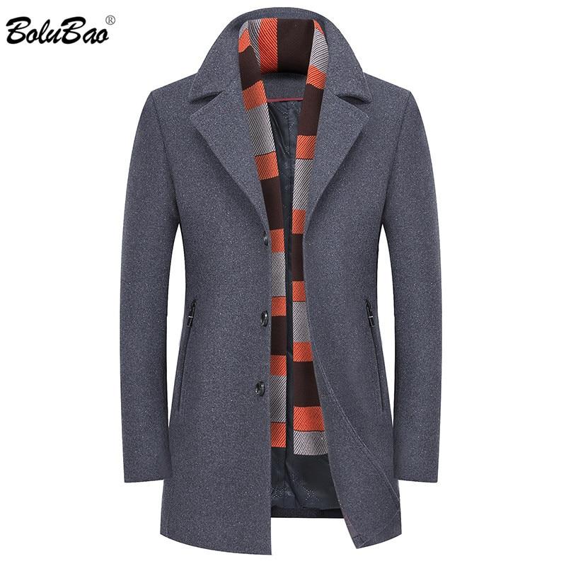 BOLUBAO Winter Men Wool Blend Coat Men's Brand Fashion Slim Scarf Collar Long Wool Coats Business Casual Wool Overcoat Male