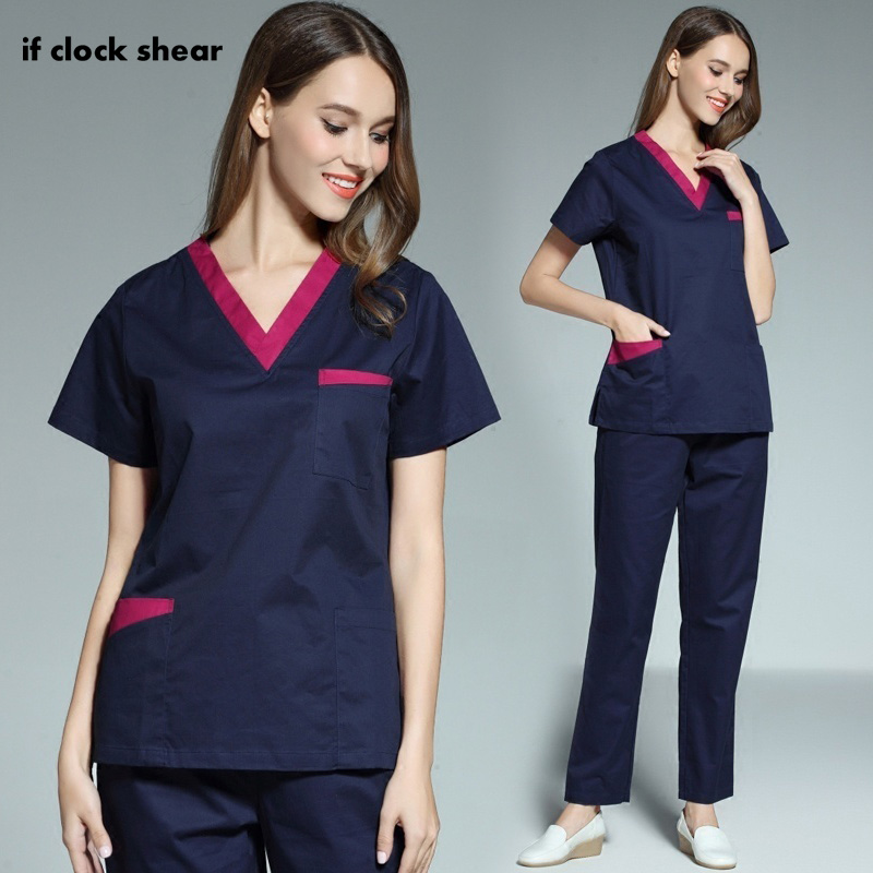 High Quality Female Medical Spa Uniforms Suits/tops V-neck Pharmacist Opening Surgery Scrubs Tops Scrubs Medical Uniforms Women