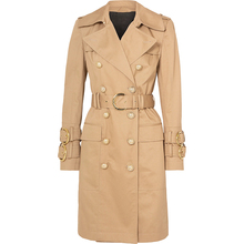 Belt Trench-Coat Double-Breasted Designer Elegant Winter Women's Fashion Fall Button