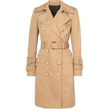 HIGH STREET 2021 autunno inverno Designer moda donna elegante doppio petto bottoni leone cintura Trench
