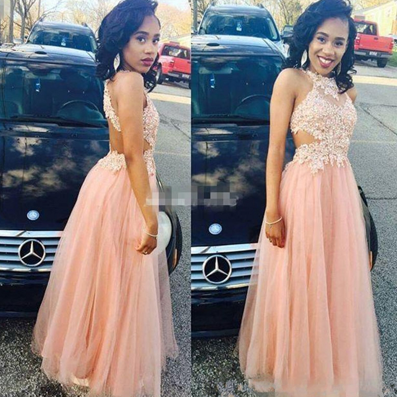 Pink Long Lace Evening Dresses Party Tulle Halter Sexy Backless Women Floor Length Formal Dresses Evening Wear Gowns On Sale