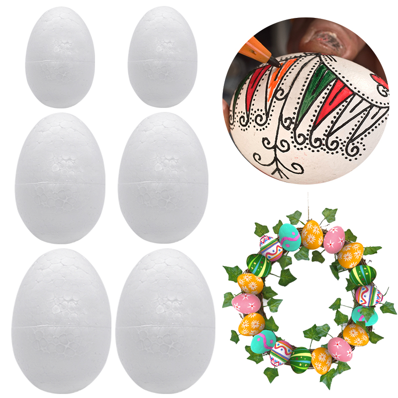 5-20pcs Unfinish White Foam Eggs Easter Decorations For Home Kids Easter Day Favors Gift DIY Easter Wreath Graland Accessories
