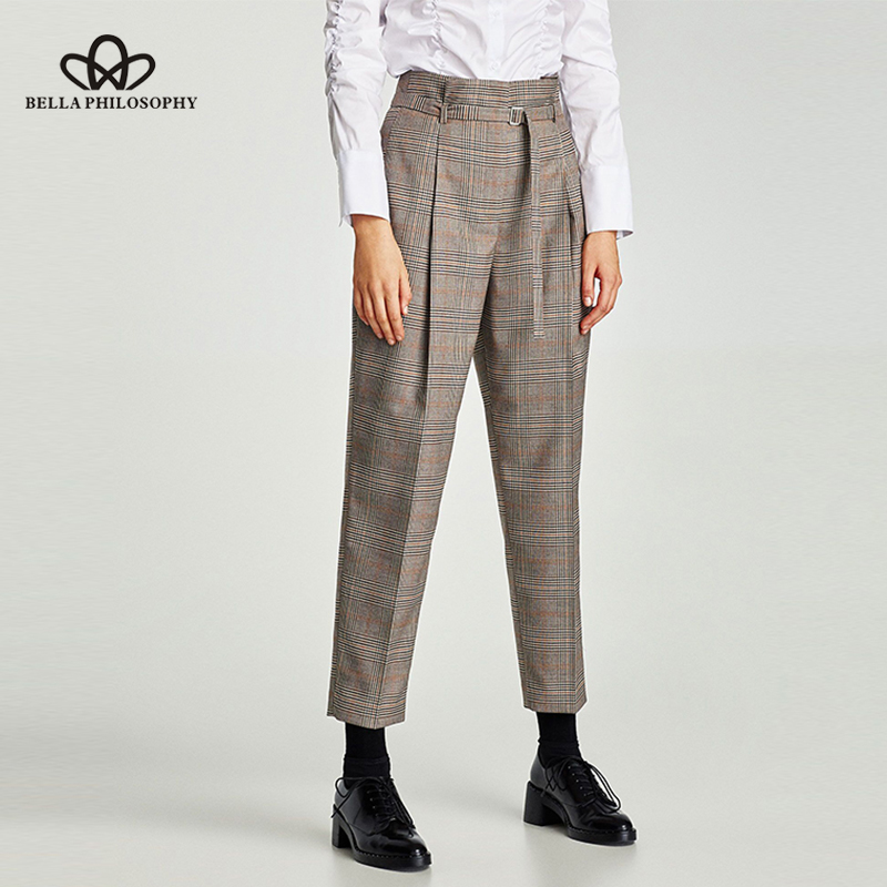 Luck A 2020 casual pants women capris houndstooth plaid sashes zipper pants female workwear pants for women bottoms