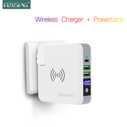 FERISING 3in1 Wall Charger 6700mah/5200mah LED Power Bank Portable Polymer Battery Qi LED Display Wireless Charger Powerbank