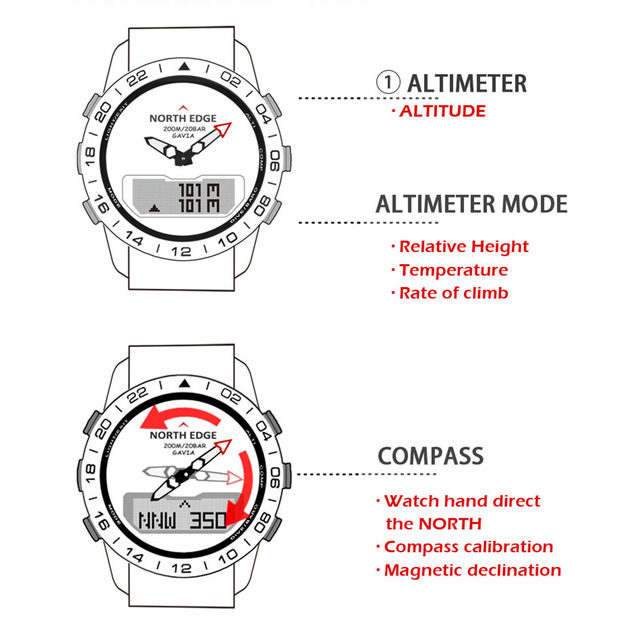 Men Dive Sports Digital watch Mens Watches Military Army Luxury Full Steel Business Waterproof 200m Altimeter Compass NORTH EDGE 4