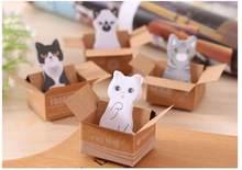 Bloc-notes autocollant chat pour planificateur, étiquette autocollante, fournitures de papeterie scolaires et de bureau en corée, 1 pièce/lot