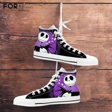 FORUDESIGNS the Nightmare Before Christmas 3D Printing Men Canvas Shoes