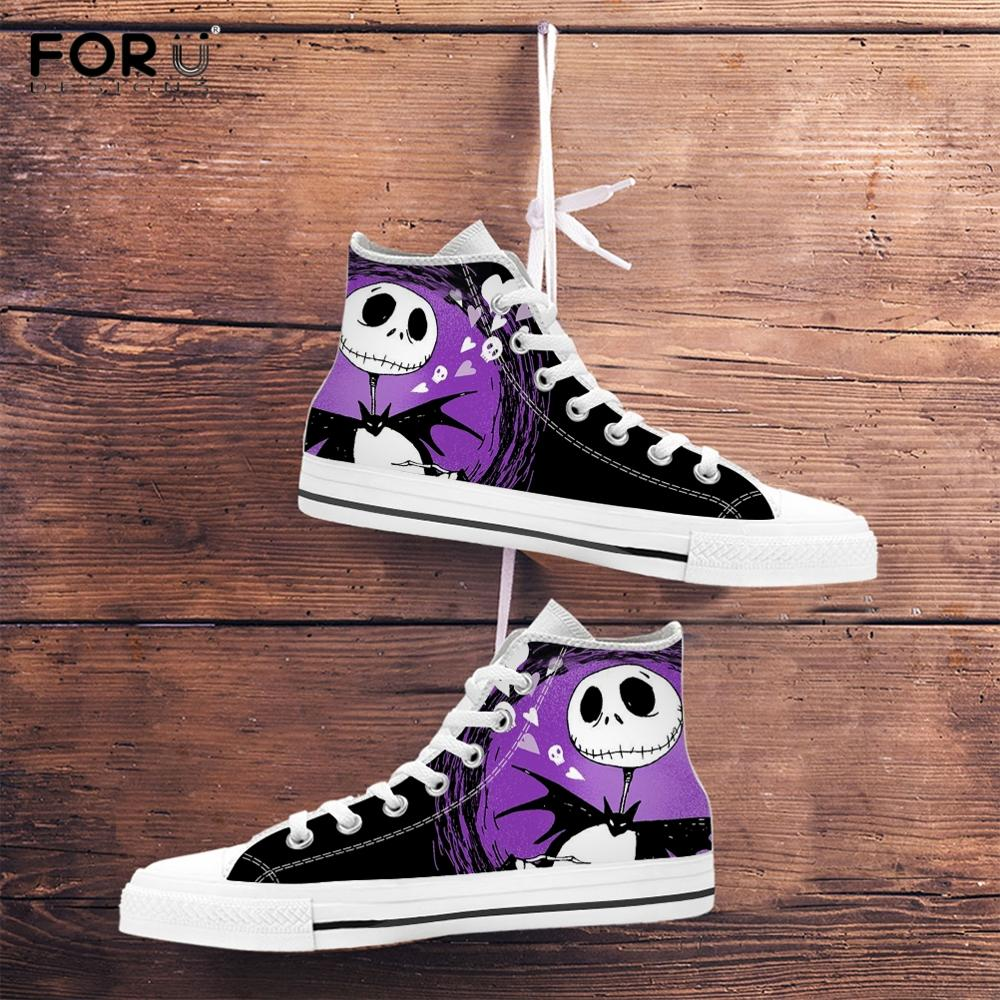 FORUDESIGNS the Nightmare Before Christmas <font><b>3D</b></font> Printing Men Canvas <font><b>Shoes</b></font> High Top Male Spring/Autumn Footwear Boy Casual Sneakers image