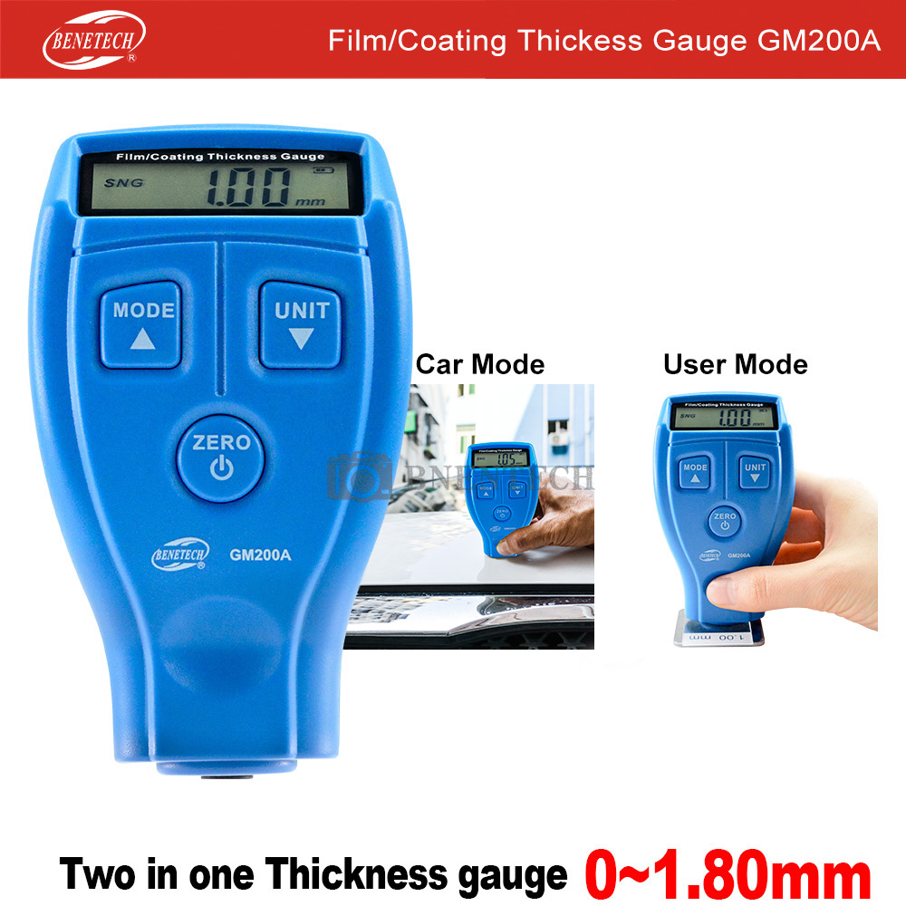 Thickness Gauges Car Paint Coating Thickness Paint Thickness Russian Manual Measuring Arrange 0-1.80mm0-71.0mil GM200A BENETECH
