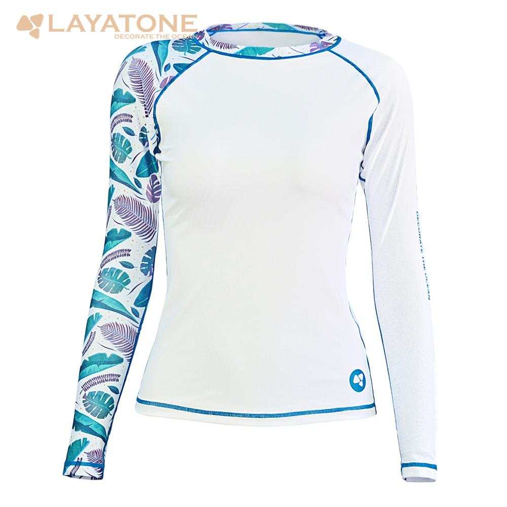LEEYA Rash Guard Women Long Sleeves Swimsuit Swimwear Top Bathing Diving Yoga Suit T-Shirts Quick Dry Rashguard Lady Girl Beach Fitness Running Shirts