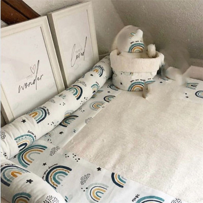 ins cotton printed rainbow bed fence crib safety anti-collision rainbow bed fence guard rail long pillow cushion baby room